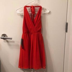 BEBE HALTER RED SWING DRESS